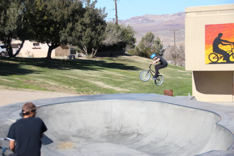 Biker doing tricks at Dana Park/Skatepark