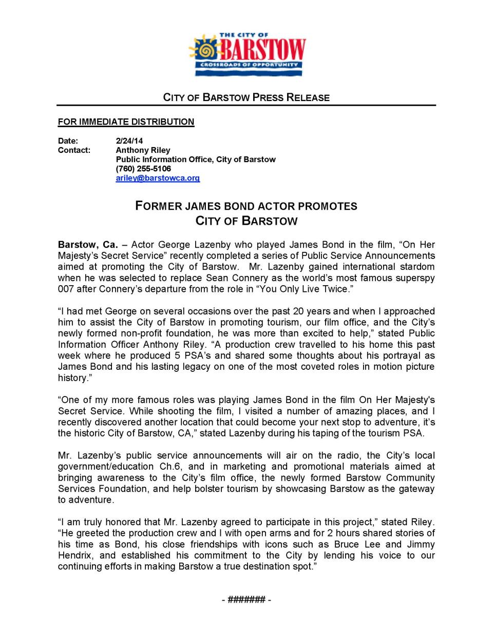 Press Release - James Bond Promotes City of Barstow