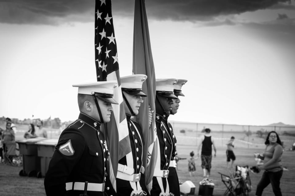 USMC carrying the American and Marine Corps flags