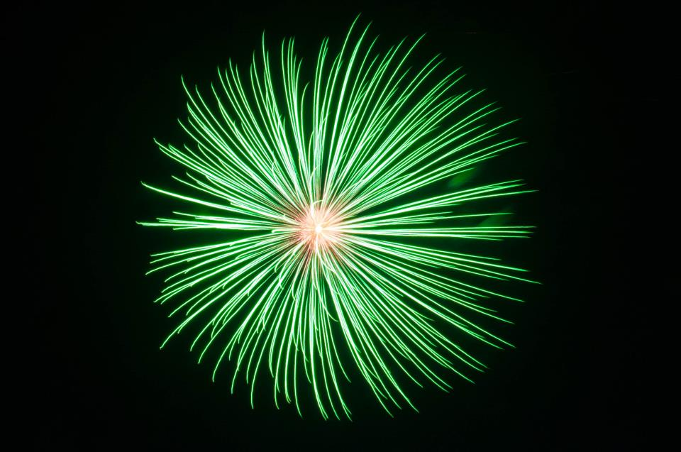 Green fireworks display