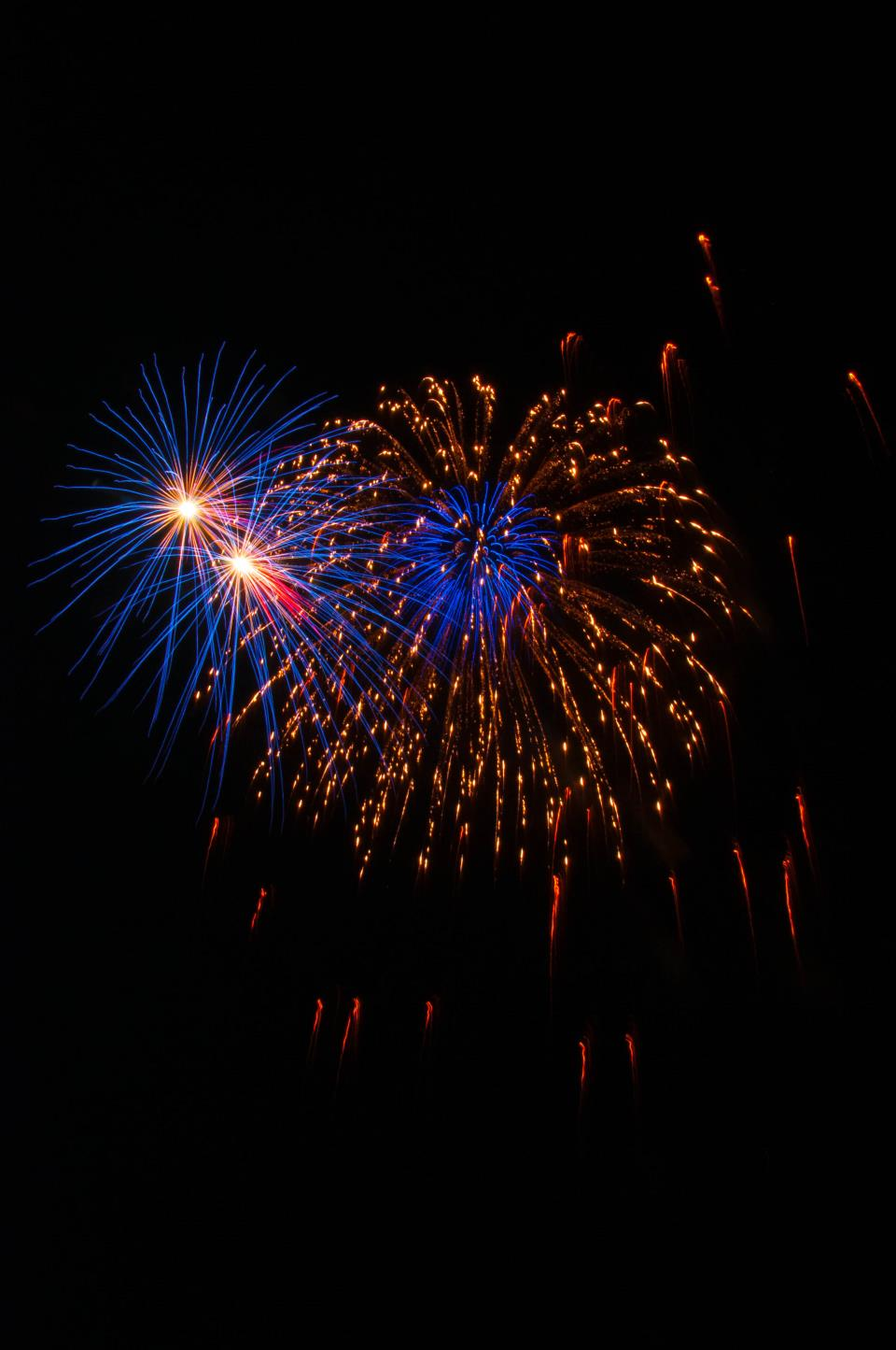 Blue, Red, and Gold fireworks