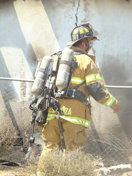 Fire Fighter checking for safety