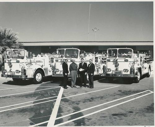 Archival photo of Barstow's Classic fire engines
