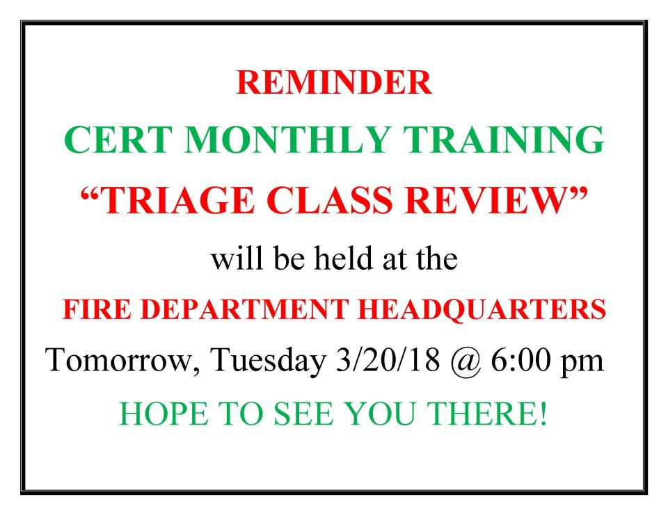 CERT  MONTHLY TRAINING POST CARD 03-20-18