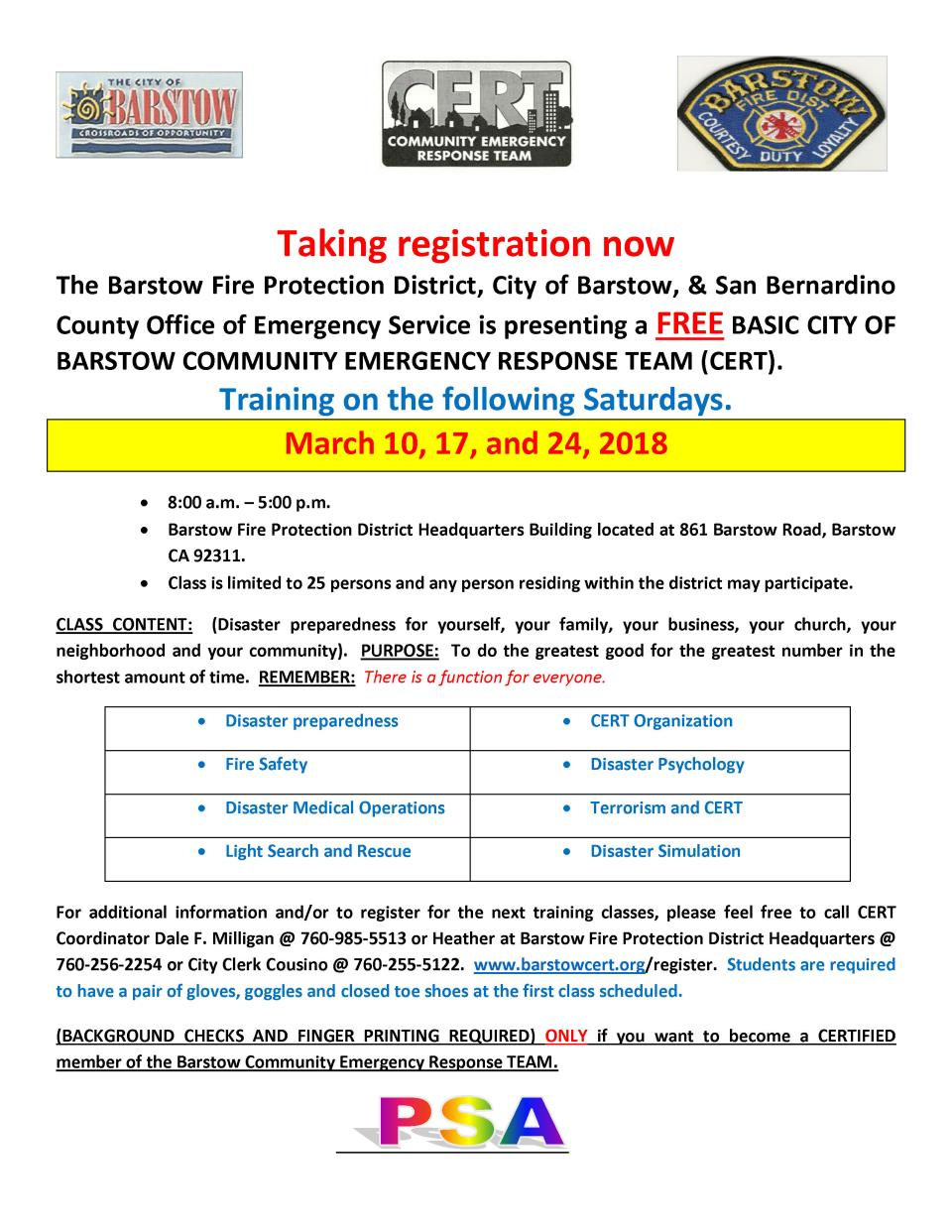 CERT course flyer MARCH CLASSES 03-2018