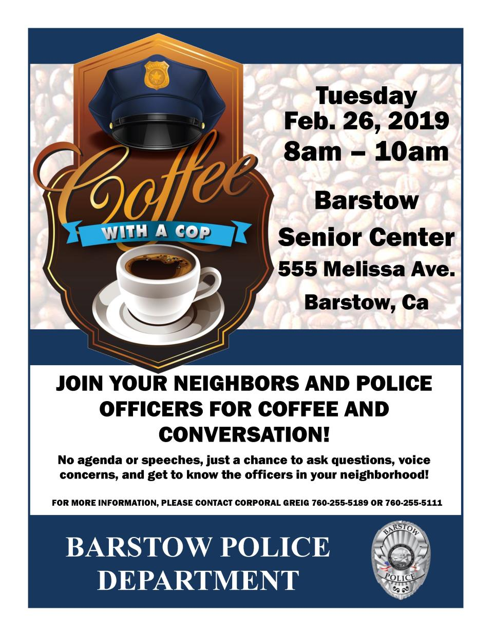 Coffee with a Cop Senior Center 2