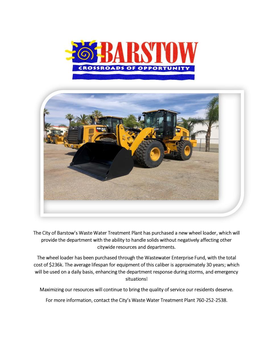 Barstow Wheel Loader Announcement